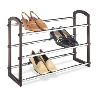 Whitmor Chrome/ Brown 3-shelf Shoe Rack