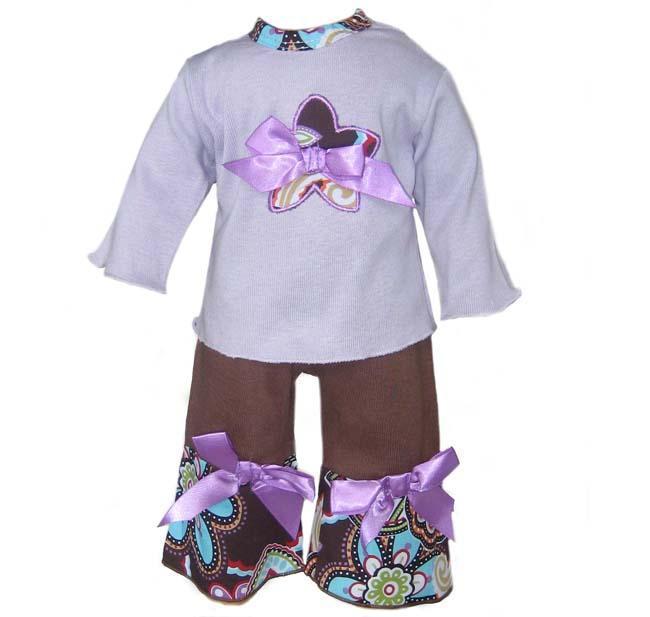 Ann Loren Lavender/ Brown Floral Doll Outfit