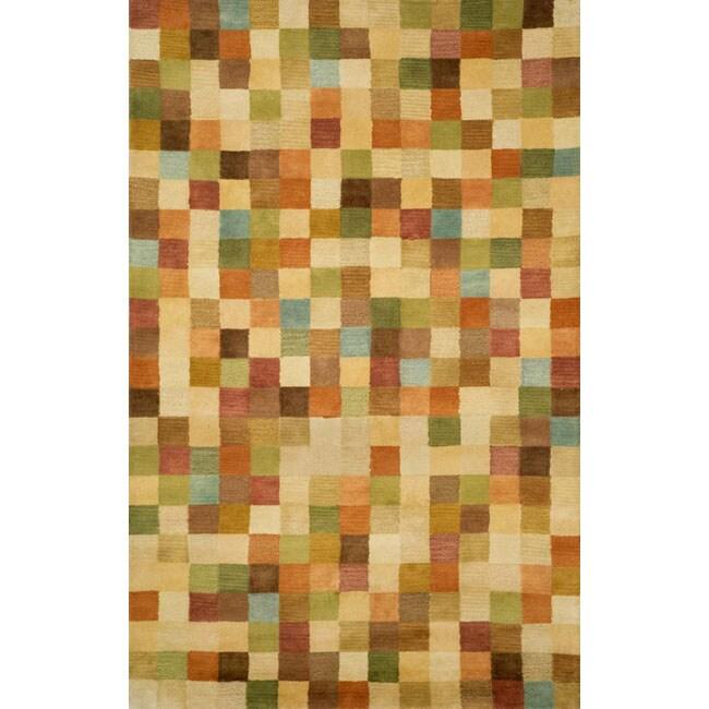 Hand-tufted Mini Squares Beige Wool Rug (8' x 10')