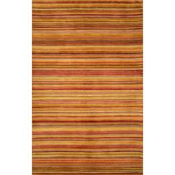 Hand-tufted Stripes Red Wool Rug (8' x 10')