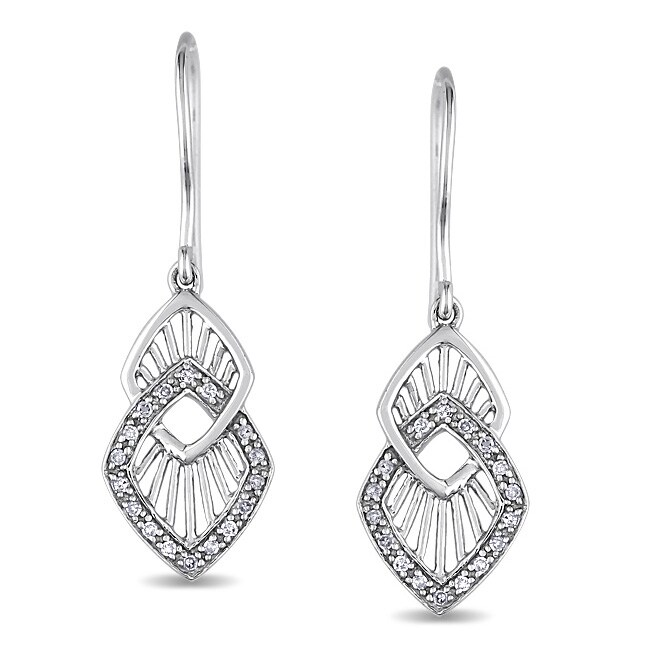 Miadora 10k White Gold 1/8 CT TDW Diamond Dangle Earrings (H-I, I2-I3)
