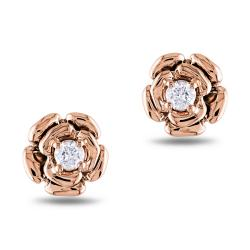 Miadora  14k Rose Gold 1/5 CT TDW Diamond Flower Earrings (G-H, SI1-SI2)