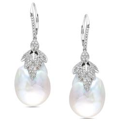 Miadora 14k White Gold 3/4 CT TDW Diamond and Baroque Pearl Earrings (G-H, SI1-SI2)