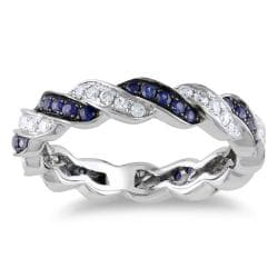 Miadora 14k White Gold 3/5 CT TGW Sapphire and 1/3 CT TDW Diamond Eternity Ring (G-H, SI1-SI2) Size 5.5