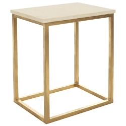 Hidden Treasures Ivory Granite Brass Accent Table