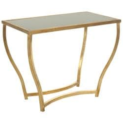 Hidden Treasures Black Granite Brass Accent Table