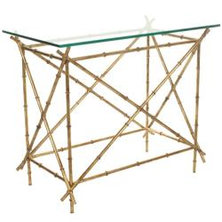 Hidden Treasures Glass Top Brass Accent Table