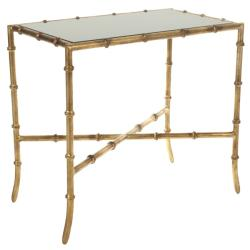 Hidden Treasures Black Mirrored Glass Gold Accent Table