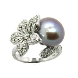 D'sire 14k White Gold Freshwater Pearl and 3/8ct TDW Diamond Ring