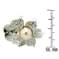 D'sire 18k White Gold Freshwater Pearl and 1 1/7ct TDW Diamond Ring