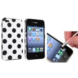 White Large Black Polka Dot Case/ Stylus for Apple iPhone 4/ 4S