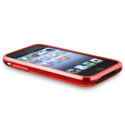 Red Flower Butterfly TPU Case/ LCD Protector for Apple iPhone 3G/ 3GS