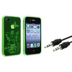 Green Flower Butterfly TPU Case/ Audio Cable for Apple iPhone 4/ 4S