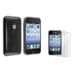 Clear Smoke Flower TPU Case/ Screen Protector for Apple iPhone 3G/ 3GS