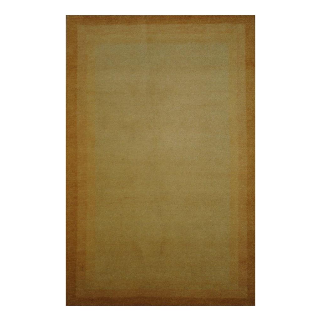 Indo Hand-knotted Tibetan Beige/ Peach Wool Rug (4' x 6'1)