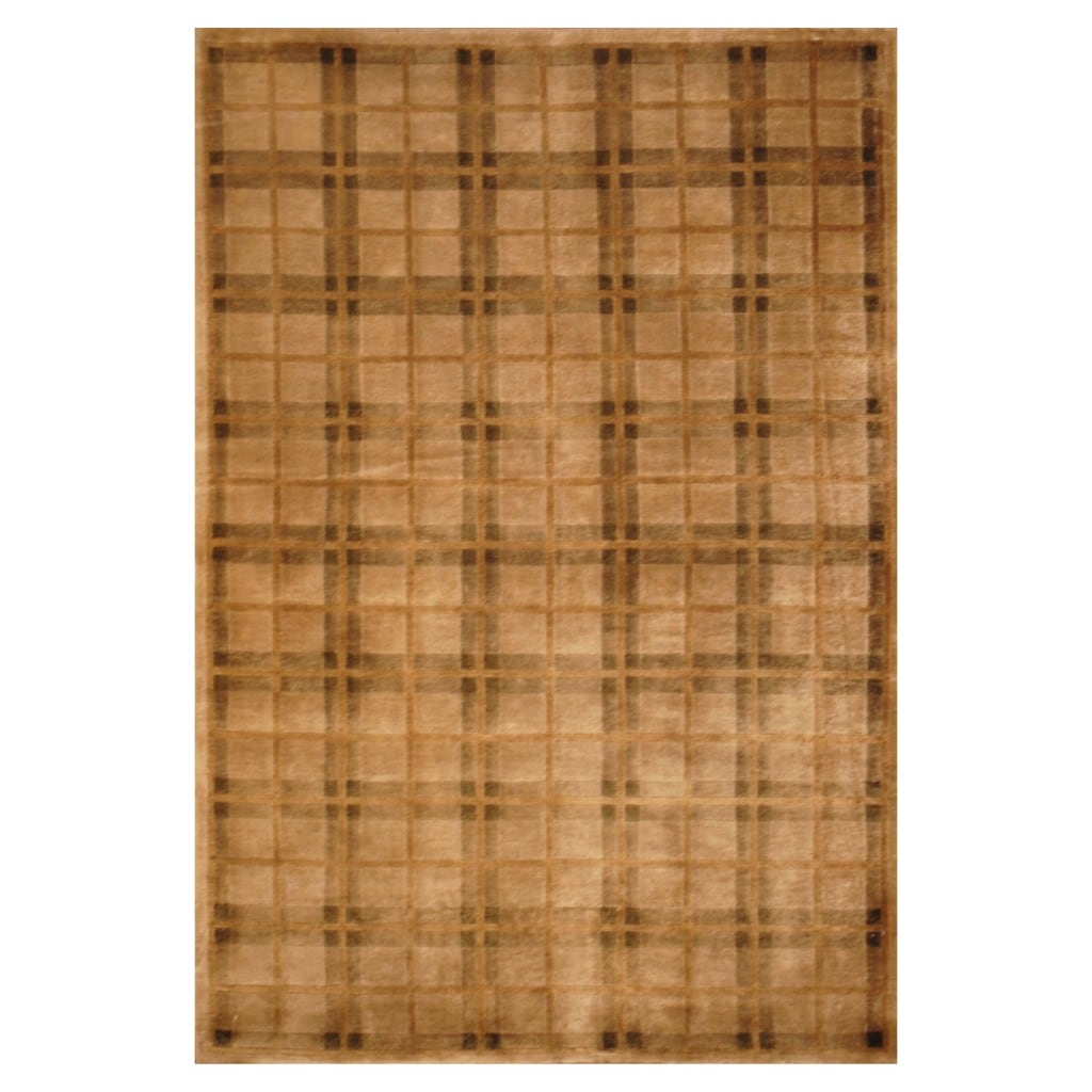 Indo Hand-knotted Tibetan Ivory/ Beige Wool Rug (4'2 x 6'1)
