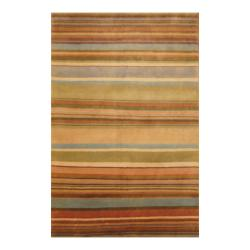 Indo Hand-knotted Tibetan Beige/ Olive Wool Rug (3'7 x 5'6)