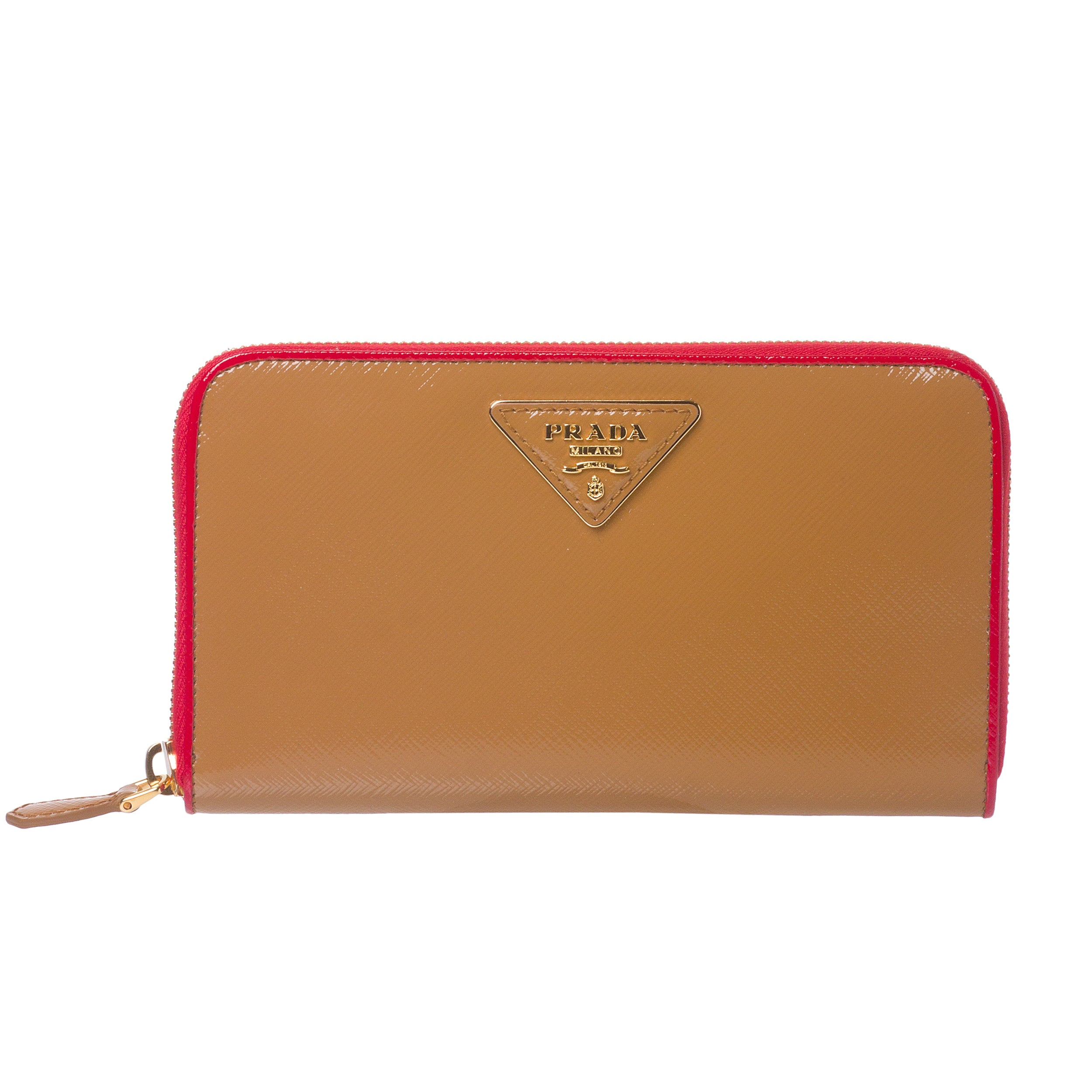 Prada Tan/ Red Color-block Saffiano Patent Leather Wallet ...