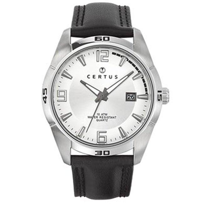 Certus Paris Men's Silver Dial Leather Date Watch