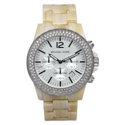 Michael Kors Women's Madison Beige Plastic Quartz Watch with Silver Dial