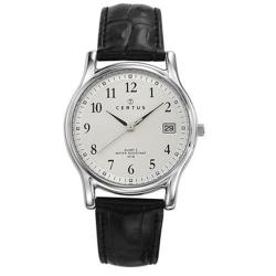 Certus Paris Men's Silver Dial Leather Date Watch