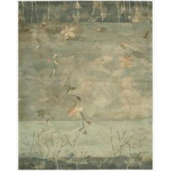 Nourison Hand-tufted Reflections Green Wool Rug (7'9 x 9'9)