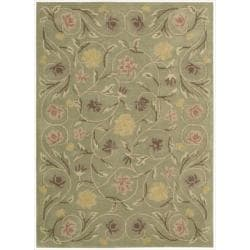 Hand-tufted Flower Garden Green Wool Rug (7'9 x 9'9)