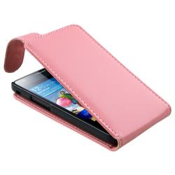 Pink Leather Pouch/ LCD Protector for Samsung Galaxy S II GT-i9100