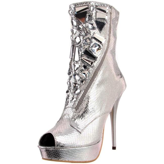 Celeste Women's 'Succi-02' Silver Rhinestone Boots