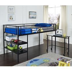 Black Twin Loft Bed with Desk / Shelves