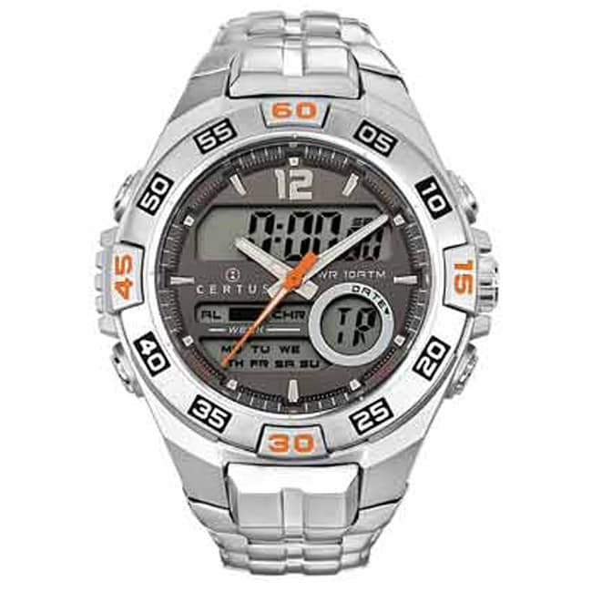 Certus Paris Men's Stainless Steel Grey Digital Dial Watch