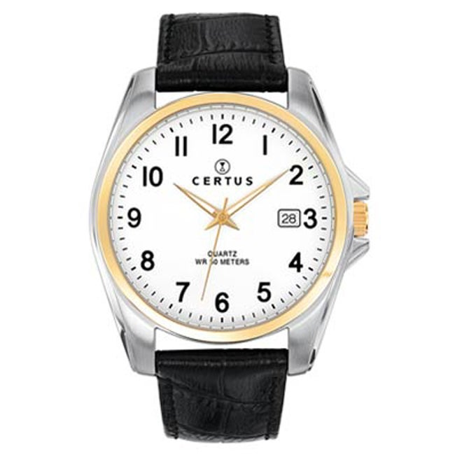 Certus Paris Men's Black Calfskin Date Watch
