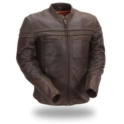 First Classics Men's Brown Leather Sporty Motorcycle Jacket
