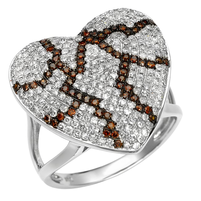 10k White Gold 1ct White and Orange Diamond Heart Ring
