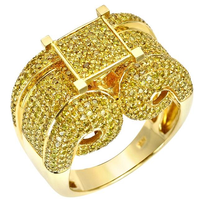 10k Yellow Gold 2 1/4 Ct Yellow Diamond Cocktail Ring