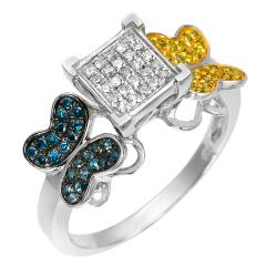 10k White Gold 1/3 Ct Blue and Yellow Diamond Butterfly Design Ring (I1-I2)