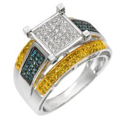 10k White Gold 3/4ct Blue and Yellow Diamond Ring