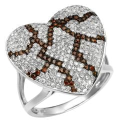 10k White Gold 1ct White and Orange Diamond Heart Ring