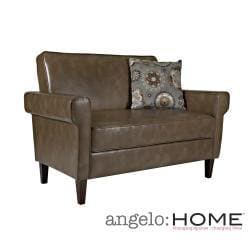 angelo:HOME Ennis Milk Chocolate Brown Renu Leather Loveseat