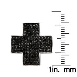 10k White Gold 1ct TDW Black Diamond Cross Earrings