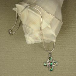 Jewelry by Dawn Cross-Shaped Abalone Pendant Necklace