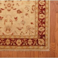 Afghan Hand-knotted Vegetable Dye Ivory/ Rust Wool Rug (3'10 x 5'9)
