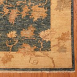 Afghan Hand-knotted Vegetable Dye Teal/ Ivory Wool Rug (4'9 x 5'10)