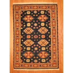 Indo Hand-knotted Kazak Navy/ Orange Wool Rug (4' x 6')