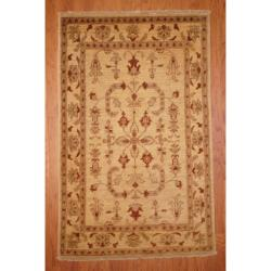 Afghan Hand-knotted Vegetable Dye Ivory/ Rust Wool Rug (4' x 6'3)