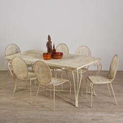Antique White Mesh 7-Piece Dining Set (India)