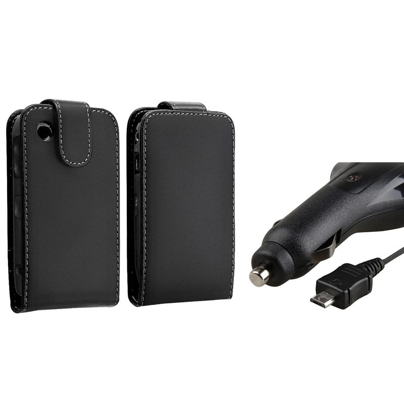 Leather Case/ Retractable Car Charger for BlackBerry Curve 8520/ 9300