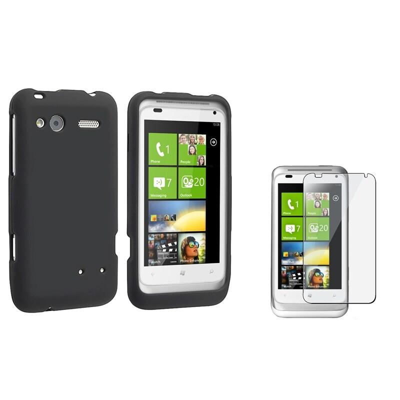 Black Rubber Case/ Screen Protector for HTC Radar