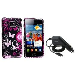 Black/ Pink Rubber Case/ Car Charger for Samsung Galaxy S II i9100
