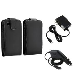 Black Leather Case/ Travel/ Car Charger for BlackBerry Curve 9300